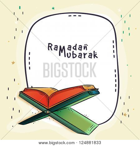 Islamic religious book Quran Shareef for Holy Month of Prayers, Ramadan Mubarak celebration.