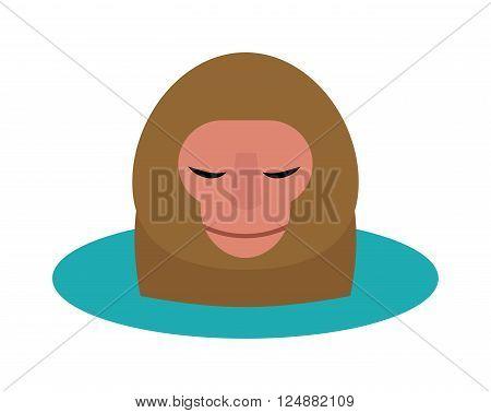 Monkey head and nature zoo monkey head. Primate design monkey head, cute portrait art graphic monkey head animal face. Vector illustration of monkey head cartoon style wild mammal chimpanzee.