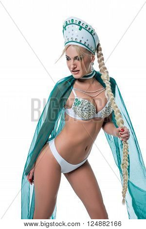 Stripper dressed in erotic suit with kokoshnik. Isolated on white background poster