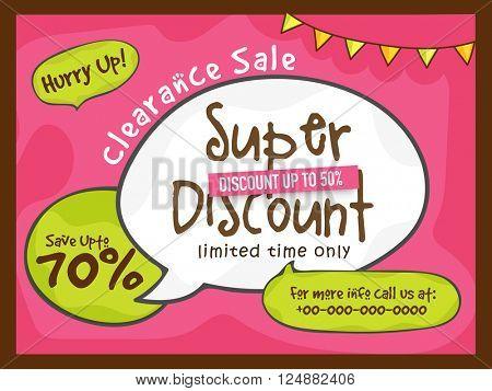 Super Discount, Clearance Sale Poster, Sale Banner, Sale Flyer, Save upto 70%, Creative vector illustration.