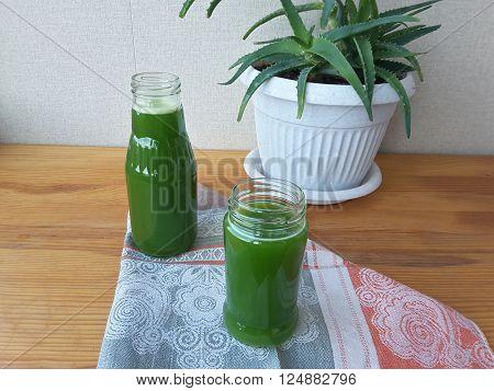 Aloe leaves juice for health, vegetarian green diet
