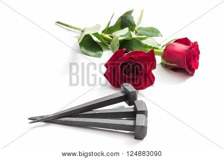 Jesus Christ nails from the Crucifixion and red roses on a white background.