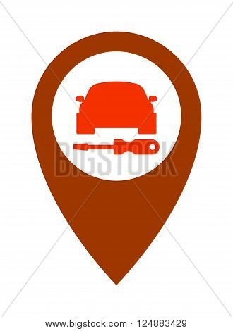 Repair service car icon and automotive service car icon. Silhouette service car icon mechanic graphic element. Service car transport. Service car assistance icon repair symbol vehicle design vector.
