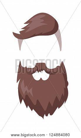 Hipster fashion men fashion hair and beard vector illustration. Fashion hipster haircut and hipster haircut hairstyle. Model hairstyle vintage hipster haircut. Character hipster haircut person.