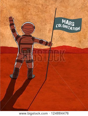 Mars colonization. Astronaut on the planet. Colour poster vector illustration