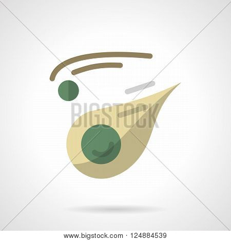 Space research. Meteorites, asteroids, bolides. Astronomy science. Flat color style vector icon. Web design element for site, mobile and business.