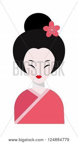 Japanese woman folk-art maiden cute kokeshi beautiful asian character vector. Japan beautiful asian woman and traditional japan woman. Japan women kimono female cute charming art people dressed geisha