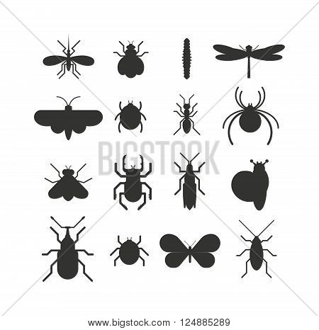 Insect icons black silhouette flat set isolated on white background.