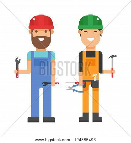 Workers people building team and group workers people service. Profession engineering workers people. Set of professional workers people building team in helmets builders flat vector illustration.