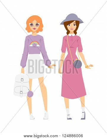 Outfits concept and trendy looks stylish. Trendy looks female lifestyle. Two woman in sunglasses showing girl having fun style casual outfit concept lifestyle urban fashion trendy looks vector.