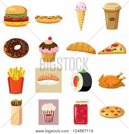 Food set icons use for any design