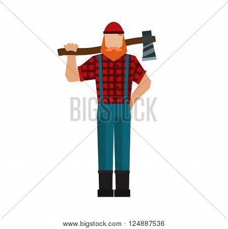 Woodcutter forest and strong woodcutter. Nature hipster muscular man with beard and mustache. Lumberjack, woodman, woodcutter an ax carpenter joiner, woodworker forest strong flat character vector.