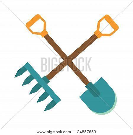 Rake and shovel garden farm logo, organic garden farm logo concept. Gardening tools icon flat graphic design farm logo organic garden agriculture rake and shovel symbol vector illustration.