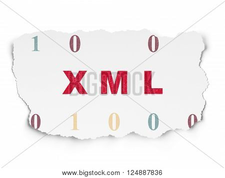 Database concept: Xml on Torn Paper background