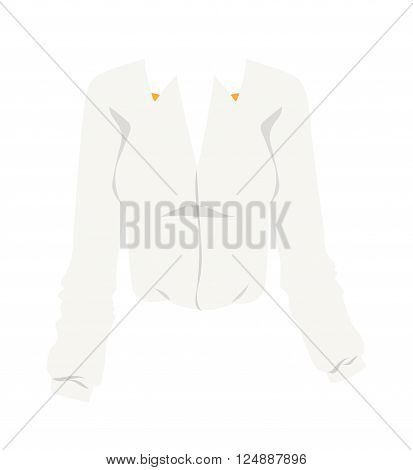 Glamour white blouse and white blouse design. Elegant cotton white blouse with long classic sleeves. White blouse fashion female shirt with long sleeves glamour clothing style vector illustration.