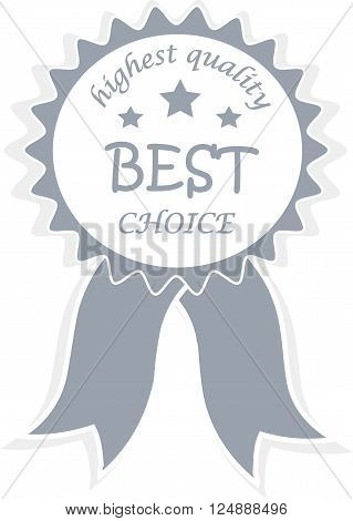Blue award signifies Best choice, highest quality, winners production, vector