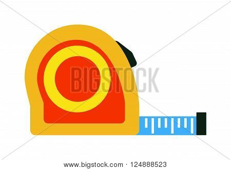 Ruler flat icon vector illustration, ruler icon. School icon symbol ruler education equipment. Some yellow ruler tool.