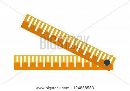 Ruler flat icon vector illustration, ruler icon. School icon symbol ruler education equipment. Some yellow ruler tool. Workers ruler, ruler tool icon