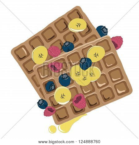 Caramel sauce flowing over a waffle with blueberyy, banana and raspberry. Hand drawn healthy snack vector illustration