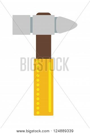 Work tool hammer and industry hammer. Build carpentry hammer handle craft instrument renovation tool. Yellow hammer work tool construction equipment repair hardware industry flat vector illustration.