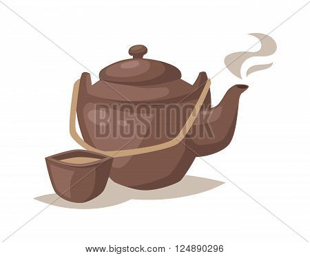 Cartoon teapot cup and kitchen cartoon teapot. Relax equipment cartoon teapot kitchenware set, collection dinner utensils dishware. Vector gray china cartoon teapot and cup with hot tea drink.