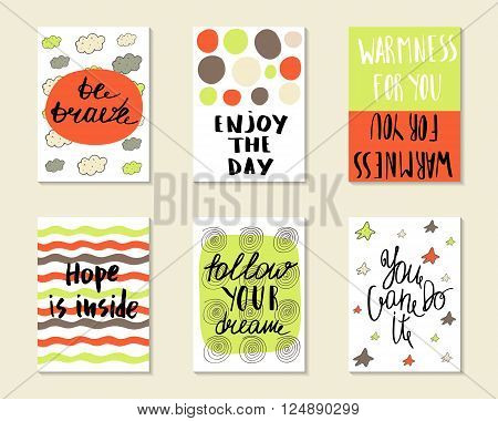 Cute hand drawn doodle postcards cards covers with different elements and quotes including be brave enjoy the day hope is inside follow your dream you can do it. Printable templates set