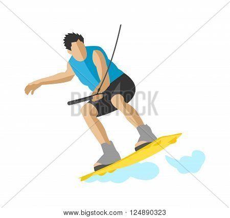 Wakeboard on wave water sport and wakeboard activity water sport. Summer action splash wakeboard active recreation man. Man wakeboarding in action summer fun hobby outdoor water sport character vector