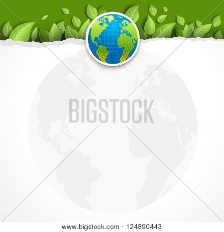 Green concept with globe for design banner,ticket, leaflet and so on.Template page for Earth day. Holiday card.