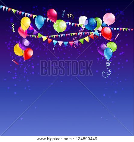 Bright holiday card with balloons for design banner,ticket, leaflet and so on.Template page. Holiday card.