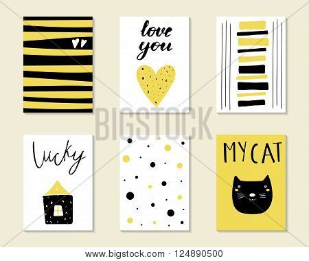 Cute hand drawn doodle birthday party baby shower cards brochures invitations with cat house heart polka dots. Cartoon objects animals background. Black and golden printable templates set