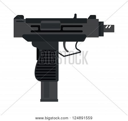 Defense UZI gun security and steel UZI gun war weapon. Shot crime handgun black bullet, army danger magazine power gun. UZI submachine gun military rifle army and weapon automatic machine vector.
