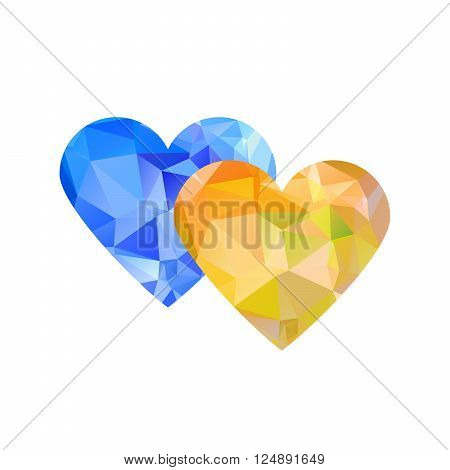Geometric rumpled triangular low poly style vector hearts, yellow and blue - Ukraine colors. Positive poster. Digital vector illustration.