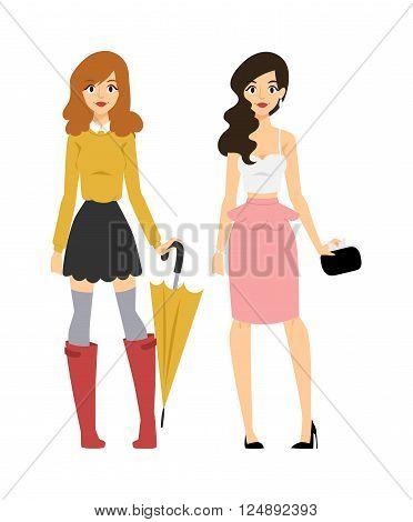 Fashion abstract vector girls silhouette isolated on fashion background. Fashion woman girls looks portrait. Beautiful sexy stylish girl or young woman vector cartoon style illustration. Fashion model girls