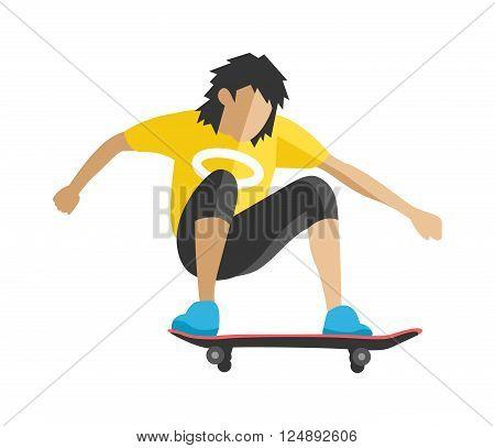 Skateboarder jump fun sport and outdoor skateboarder urban jump. Lifestyle street culture recreation trick.Skateboarder jump doing trick in skate park extreme sport fun urban character flat vector.