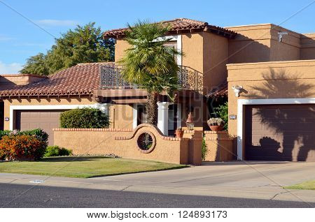 SCOTTSDALE ARIZONA APRIL 23: Beautiful home with interesting architectural detailing, south west spanish exterior. On april 23 2014 in Scottsdale Arizona USA