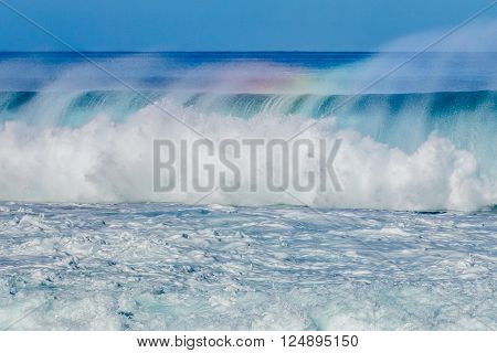 Hawaiian big surf wave at Pipeline on the North Shore of Oahu