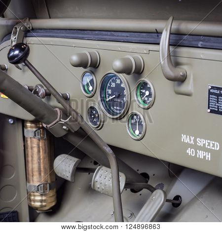 Verona, Italy - March 25, 2015: Dashboard detail of an old military car.