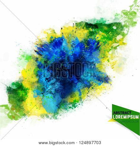 Vector abstraction from a mixture of colors, blue, green, yellow ink, color spray, fly away, stains with a spray of water colors. Isolate on white.