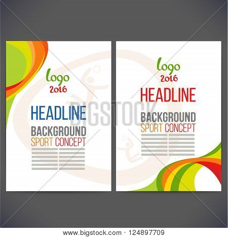 Vector template design strips of colored rings and waves.Concept sport brochure, Web sites,page,leaflet, sign logo and text separately. Sport concept banners with symbols of sports competitions