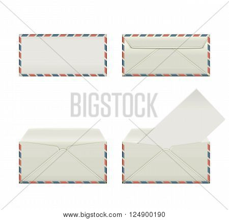 Set of four blank narrow envelopes. The collection includes a front view rear view and open the envelope and the envelope with the letter. Vector illustration.