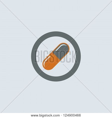 Gray-orange soluble capsule pill round web icon