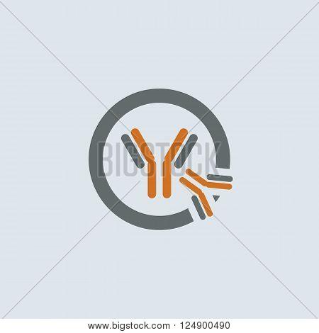 Gray-orange symbolic immunoglobulin molecule round web icon