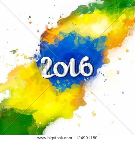 Signs, symbols inscription 2016 on a background watercolor stains, blue, yellow, green colors of the Brazilian flag, Brazil Carnival,watercolor paints