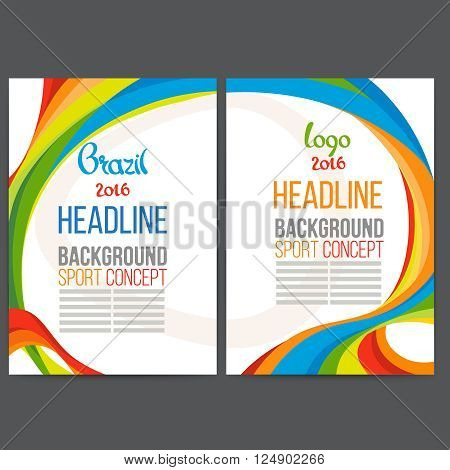 Abstract vector template design with colored lines and waves, icons sports subjects, sport concept banners.2016