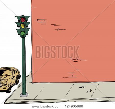 Stoplight On Corner Background Illustration