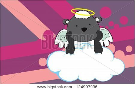 sweet cherub sheep cartoon background in vector format very easy to edit