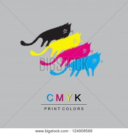 Logo CMYK color model design concept on light gray background. Four multi-colored cats. Printing technology emblem.