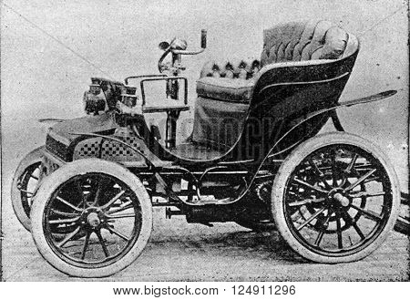 Small car, vintage engraved illustration. Industrial encyclopedia E.-O. Lami - 1875.