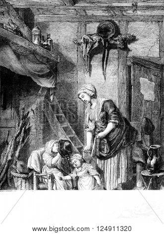 Maternal complacency, vintage engraved illustration. Magasin Pittoresque 1861.