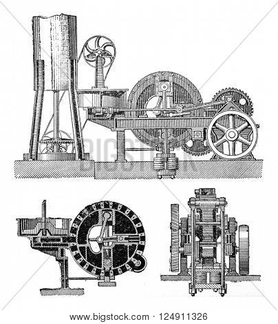 Machine agglomerate triple compression, vintage engraved illustration. Industrial encyclopedia E.-O. Lami - 1875.